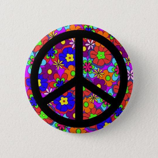 Peace Sign Hippy Flowers Retro 6 Cm Round Badge