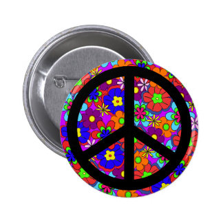 Peace Sign Hippy Flowers Retro 6 Cm Round Badge