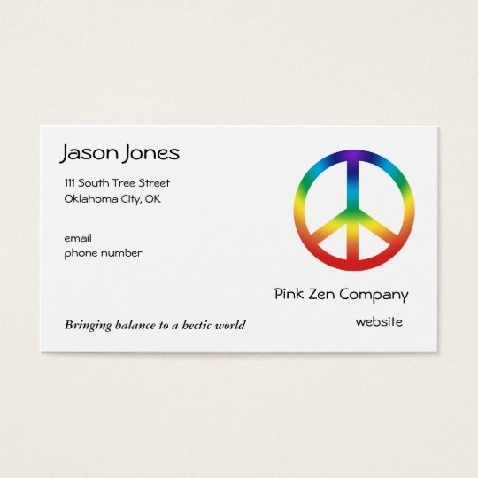 Peace Sign in Chakra Colours Business Card