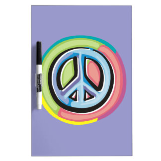 Peace Sign in Pastel Colors Dry Erase Board
