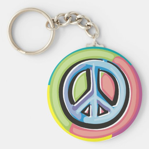 Peace Sign in Pastel Colors Key Chains