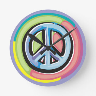 Peace Sign in Pastel Colors Round Clock