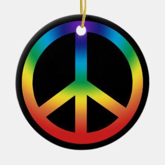 Peace Sign in Rainbow colors Round Ceramic Decoration