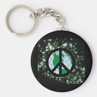 Peace Sign In Space Keychain