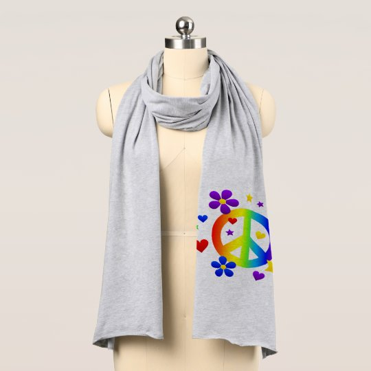 Peace Sign Jersey Knit Scarf