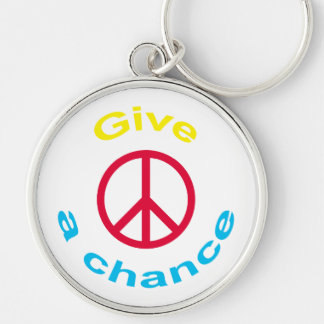 Peace Sign Silver-Colored Round Key Ring