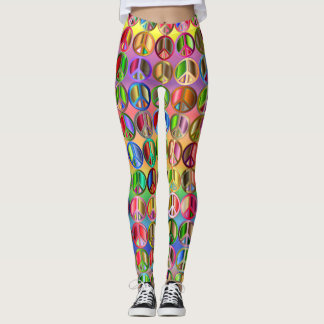 Peace Sign Leggings Overall Neons