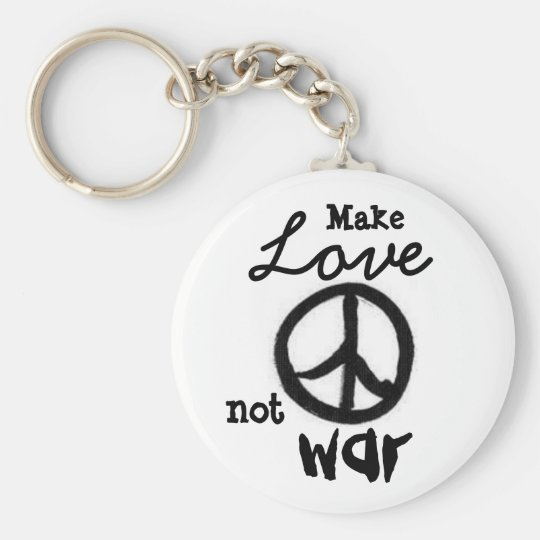 peace-sign, Make, Love, not, war - Customised Basic Round Button Key Ring