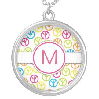 Peace Sign Monogram Necklace