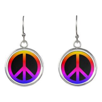 Peace Sign Neon Rainbow Black Earrings