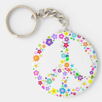 Peace sign of Flowers Basic Round Button Key Ring