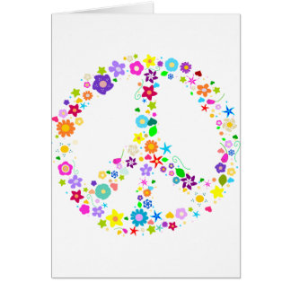 Peace sign of Flowers Card