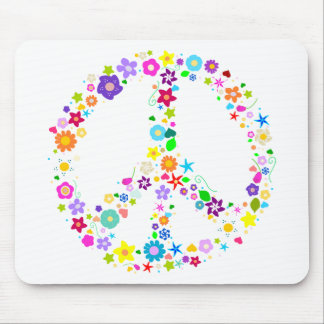 Peace sign of Flowers Mouse Mat