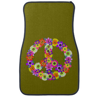 Peace Sign on Olive Green Car Mat