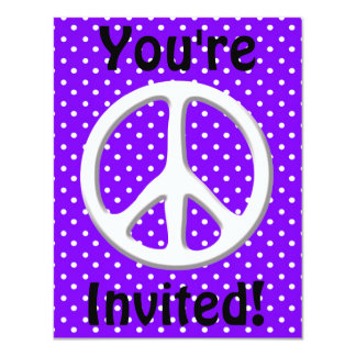 Peace Sign Party in Purple 11 Cm X 14 Cm Invitation Card