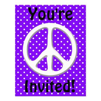 Peace Sign Party in Purple Custom Invitation