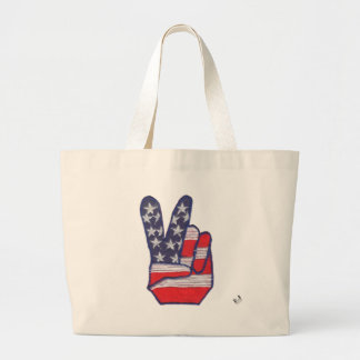 Peace Sign Patch Large Tote Bag