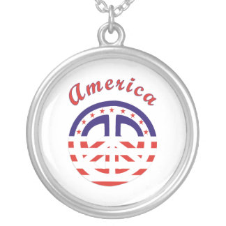 Peace Sign Patriotic Round Pendant Necklace