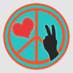 Peace Sign Peace and Love Classic Round Sticker