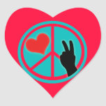 Peace Sign Peace and Love Heart Sticker