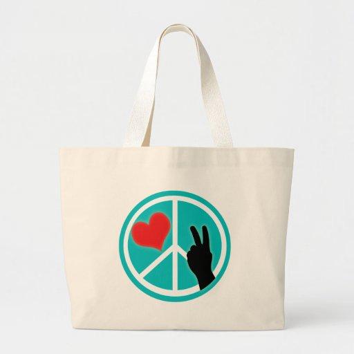 Peace Sign Peace and Love Jumbo Tote Bag