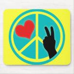 Peace Sign Peace and Love Mousepad