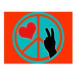 Peace Sign Peace and Love Postcard