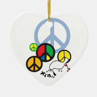 peace sign pendant ceramic heart decoration
