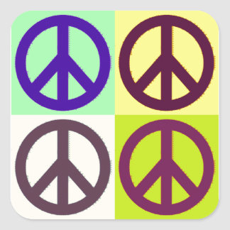 Peace Sign Pop Art Square Sticker
