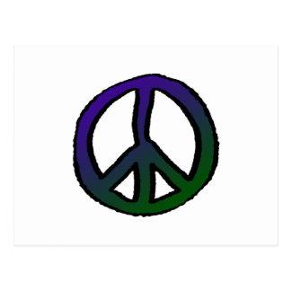 Peace Sign Purple Green Grad Postcard