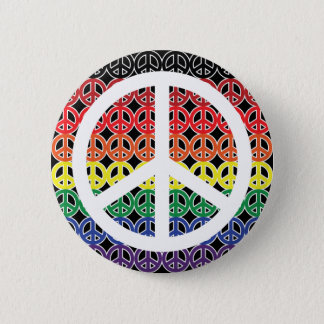 Peace Sign Rainbow with Large Peace Sign 6 Cm Round Badge