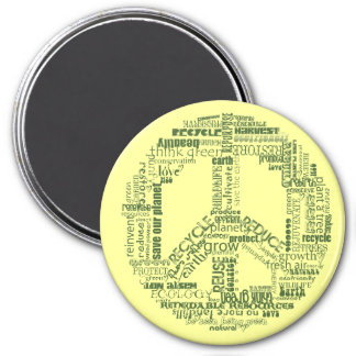 peace sign recycle words green 7.5 cm round magnet