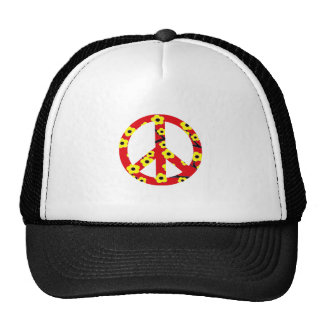 Peace Sign Red Yellow Cherry Blossom Mesh Hat