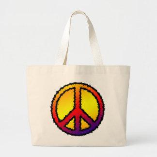 Peace Sign Red Yellow Purple Orange Zig Zag - Canvas Bag