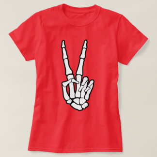 Peace Sign Skeleton Hand T-Shirt