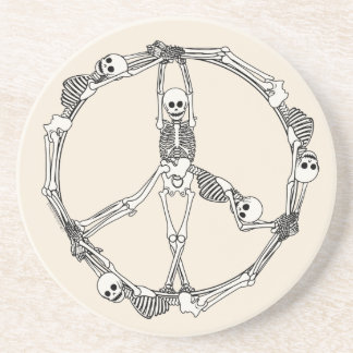 Peace Sign Skeletons Beverage Coaster