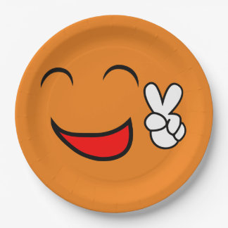 Peace Sign Smiley Face Funny Emoticon Orange Party 9 Inch Paper Plate