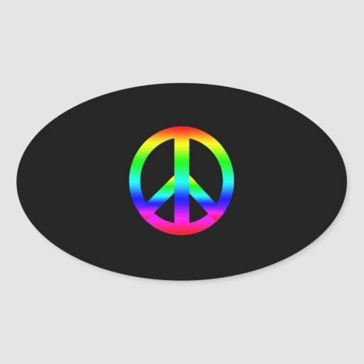 Peace Sign Oval Stickers