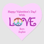 Peace sign sticker for Valentine's Day