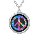 Peace Sign Summer Palette on black Round Pendant Necklace