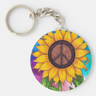Peace Sign Sunflower # 2 Basic Round Button Key Ring