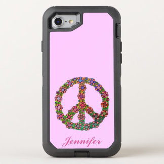 Peace Sign Symbol Flowers Floral Pretty OtterBox Defender iPhone 7 Case