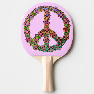 Peace Sign Symbol Flowers Pretty Ping Pong Paddle