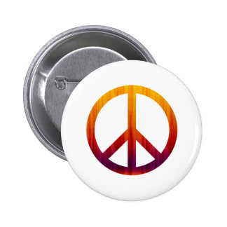 Peace Sign Textured Red and Orange 6 Cm Round Badge