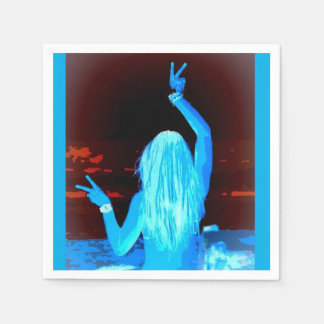 peace sign waving blue hippie girl disposable napkins