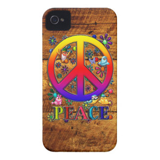 Peace Sign with Birds & Flowers Wood Backgroud iPhone 4 Case