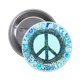 Peace Sign With Blue Waves 6 Cm Round Badge