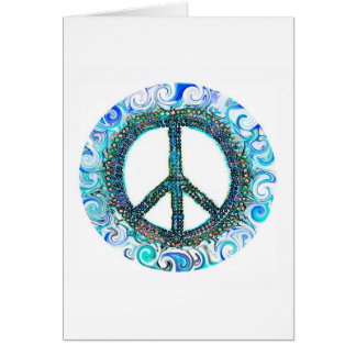 Peace Sign With Blue Waves Card