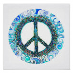 Peace Sign With Blue Waves Poster