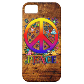 Peace Sign with Flowers & Birds Faux Wood Backgrou Case For The iPhone 5